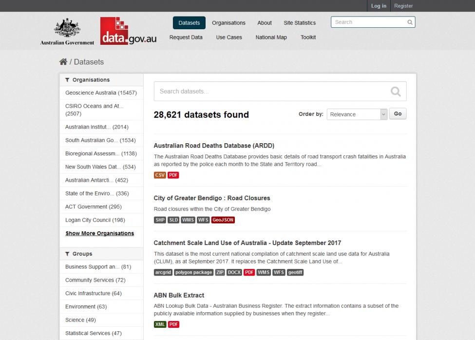 Data.gov.au CKAN data sets